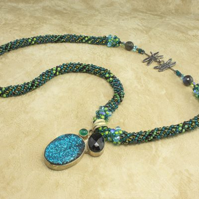 Blue Moon Dragonflies Necklace
