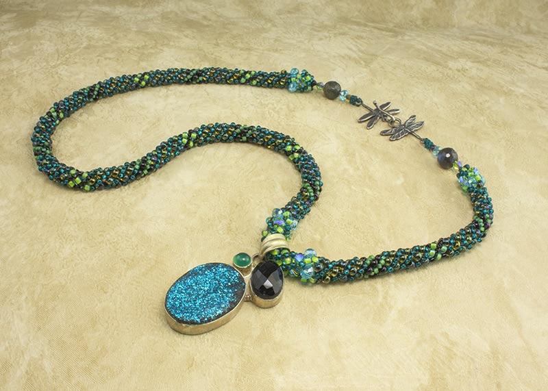 Blue Moon Dragonflies Necklace