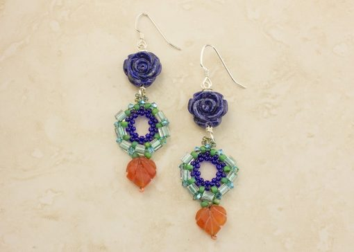 Blue Lapis Flower Earrings