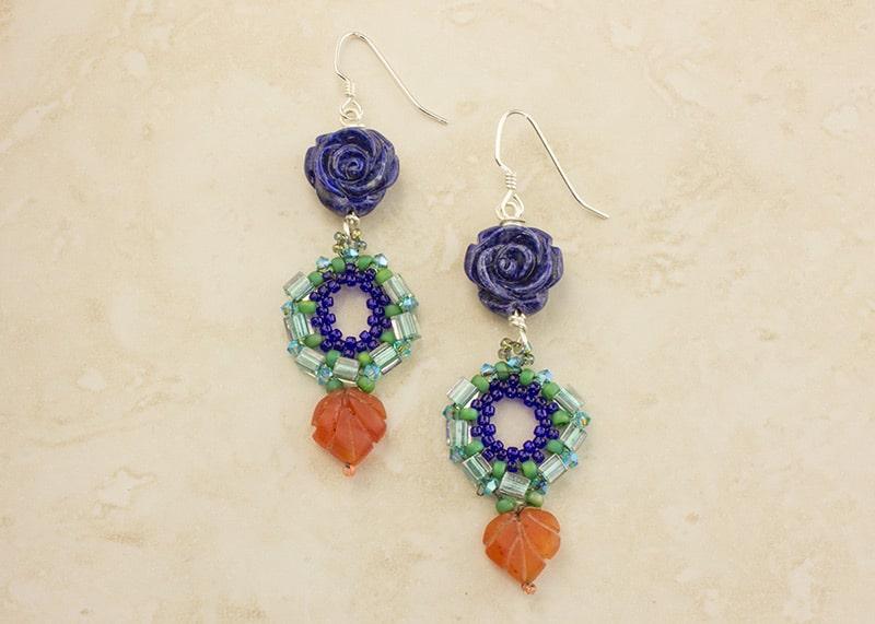 Blue Lapis Flower Earrings