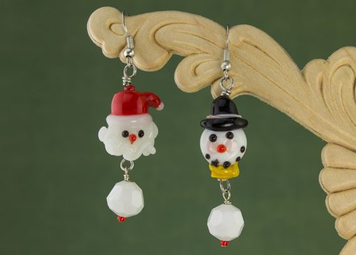 Santa and snowman earrings