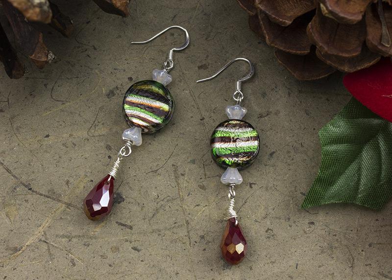 Raspberry Mints earrings