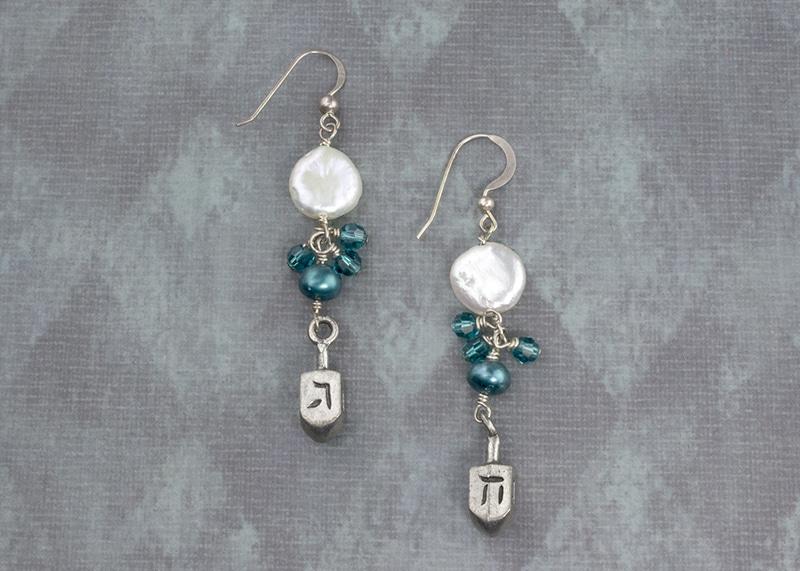 Elegant Dreidel earrings