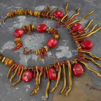 Native Coral Collar & Bracelet